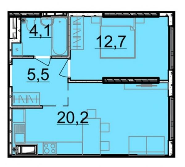 Планировки однокомнатных квартир 42.5 м^2